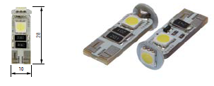 T10 12V 2.5W 3xSMD5050 LED WHITE DB POLARITY CAN (2pcs)
